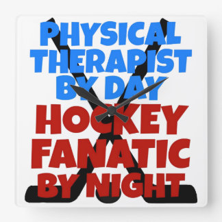 Hockey Lover Physical Therapist Square Wall Clock