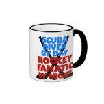 Hockey Lover Scuba Diver Ringer Coffee Mug