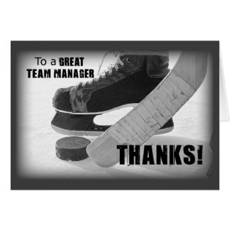 Hockey Manager Thanks, Skates, Stick and Puck Card