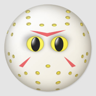 Hockey Mask Smiley Face Classic Round Sticker