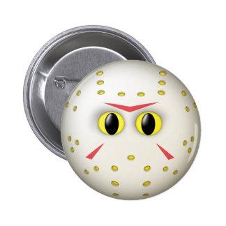 Hockey Mask Smiley Face Pinback Button