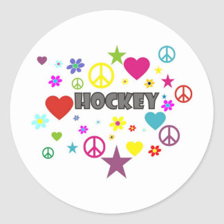 Hockey Mixed Graphics Classic Round Sticker