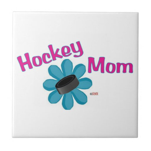 Hockey Mom Flower Puck Tile