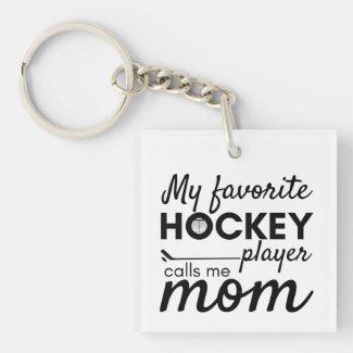 Hockey Mom Keychain favorite player black