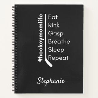 Hockey mom life notebook repeat black
