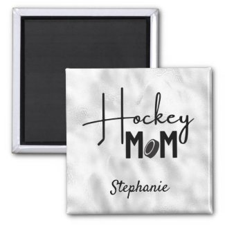 Hockey Mom Magnet calligraphy silver
