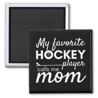 Hockey Mom Magnet favorite player black white