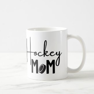 Hockey Mom Mug Player silhouette black