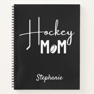 Hockey mom notebook calligraphy black