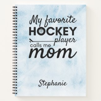 Hockey mom notebook favorite player blue ice