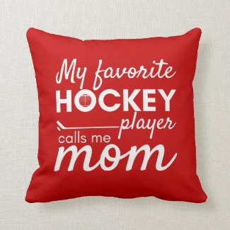 Hockey Mom pillow favorite player red