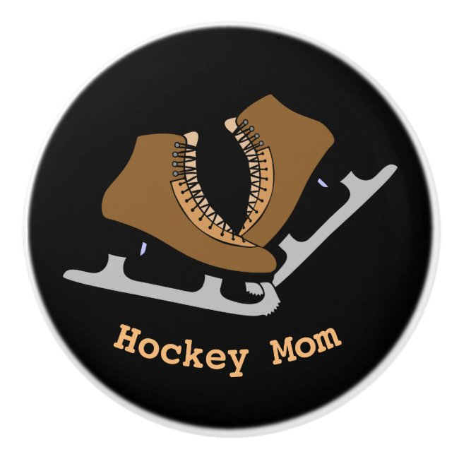 Hockey Mom Sports Ice Skates Ceramic Knob