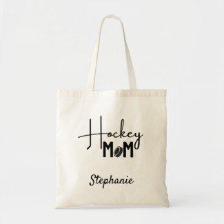 Hockey Mom tote bag calligraphy black