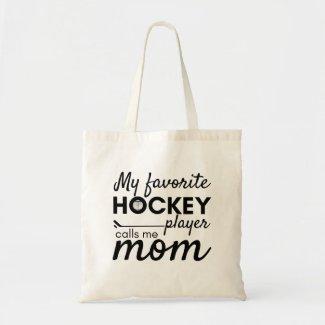 Hockey Mom tote bag favorite player black