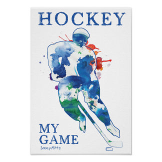 Hockey My Game Watercolor Poster