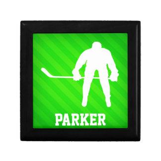 Hockey; Neon Green Stripes Gift Boxes
