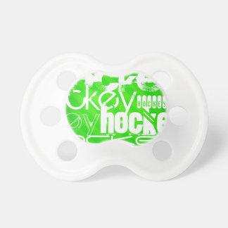 Hockey; Neon Green Stripes Pacifier