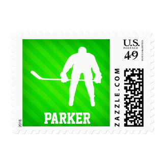 Hockey; Neon Green Stripes Stamp