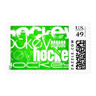 Hockey; Neon Green Stripes Postage Stamp
