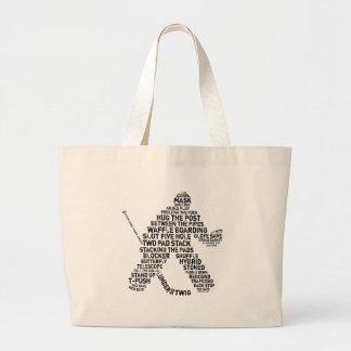Hockey Netminder Large Tote Bag