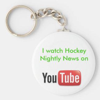 Hockey Nightly News Button Keychain