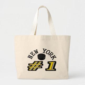 Hockey número 1 de Nueva York Bolsa Tela Grande