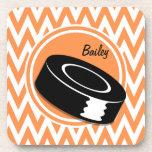 Hockey; Orange and White Chevron Drink Coaster