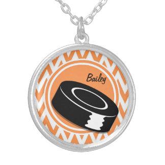 Hockey; Orange and White Chevron Necklace