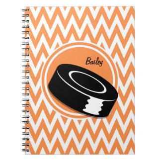 Hockey; Orange and White Chevron Notebooks