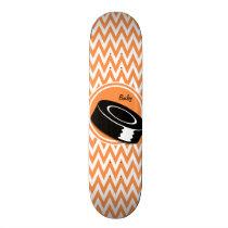 Hockey; Orange and White Chevron Skateboard Deck