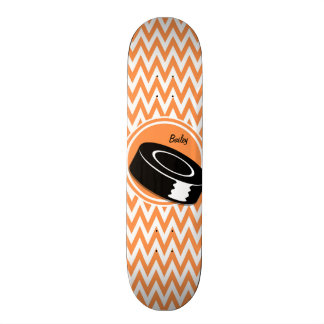 Hockey; Orange and White Chevron Skateboard Deck