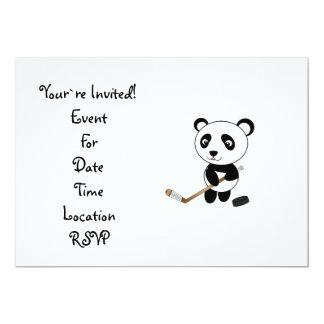 Hockey panda 5x7 paper invitation card