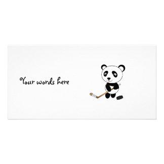 Hockey panda custom photo card