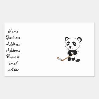 Hockey panda rectangular sticker