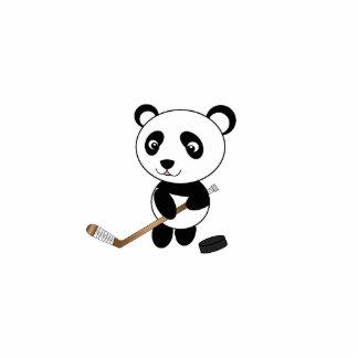 Hockey panda standing photo sculpture