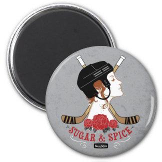 Hockey para mujer del azúcar y de la especia imán redondo 5 cm