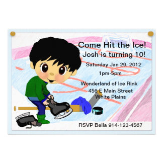 Hockey Party Personalized Announcements