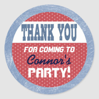 Hockey Party Sticker - Thank You Sticker