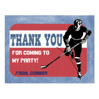 Hockey Party Thank You Postcard
