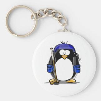 Hockey Penguin - Blue Key Chain