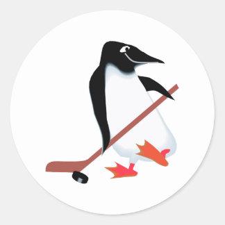 Hockey penguin classic round sticker