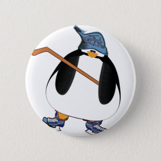 Hockey Penguin Pinback Button