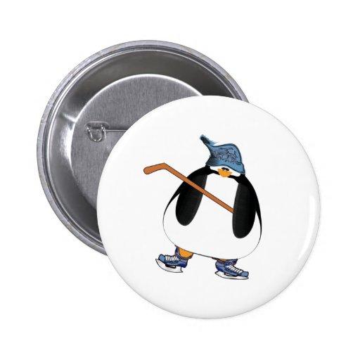 Hockey Penguin Pinback Buttons