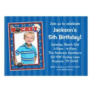 Hockey Photo Birthday Party Blue Invitations