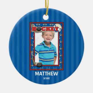 Hockey Photo Frame Kids Personalized Christmas Ceramic Ornament