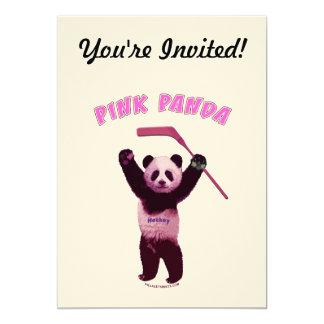 Hockey Pink Panda Bear 5x7 Paper Invitation Card