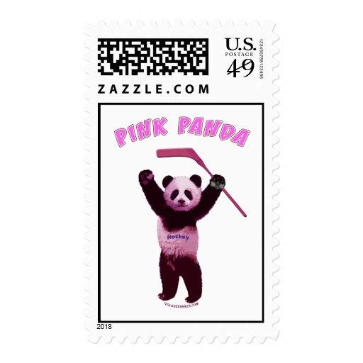 Hockey Pink Panda Bear Stamps