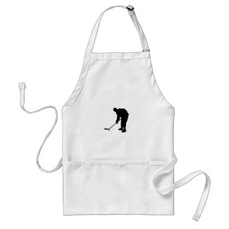 Hockey Player and puck Silhouette Adult Apron