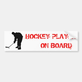 Hockey Player and puck Silhouette Bumper Sticker