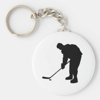 Hockey Player and puck Silhouette Keychain